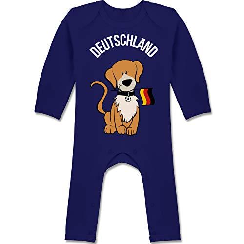 Shirtracer Fußball-Europameisterschaft 2020 - Baby - Fußball Deutschland Hund - 3/6 Monate - Navy Blau - BZ13 - Baby-Body Langarm für Jungen und Mädchen