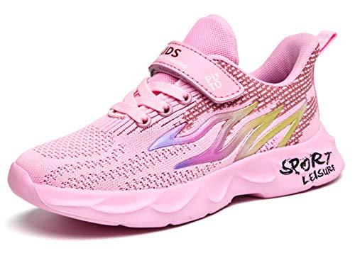 Scarpe da Basket Bambina 35 Scarpe da Ginnastica Bambina Scarpe da Corsa Ragazzi Sportive Scarpe da Camminata Bambine Scarpe Ragazze Atletica Scarpe Bambini Tennis Sneaker con Velcro Rosa Pink