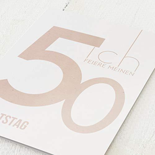 sendmoments Einladungen zum Geburtstag, 50zich, 50. Geburtstag 5er Klappkarten-Set C6, personalisiert mit Wunschtext, wahlweise mit persönlichen Bildern und optional mit passenden Design-Umschlägen