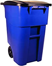 Rubbermaid Commercial Products FG9W2700BLUE BRUTE Rollout Heavy-Duty Wheeled Trash/Garbage Can, 50-Gallon, Blue