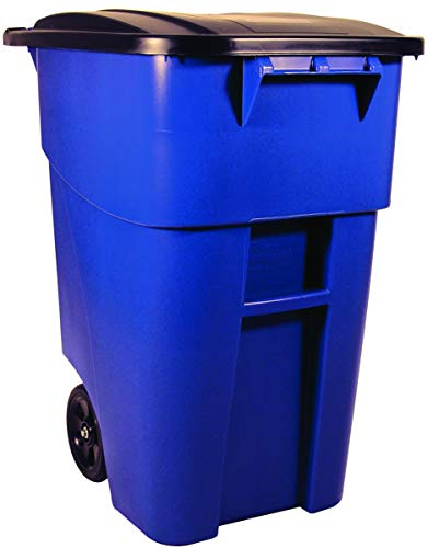 Rubbermaid Commercial Products FG9W2700BLUE BRUTE Rollout Heavy-Duty Wheeled Trash/Garbage Can,...
