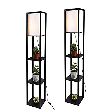 Simple Design Shelf Floor Lamp, White Shade, 63 Inch Height, with Open-Box Shelves, Black, 2 Pack