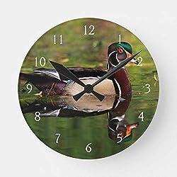 Wood Duck Round Clock Battery Operated Non Ticking Silent Art Wall Clock Desk Clock Decorative