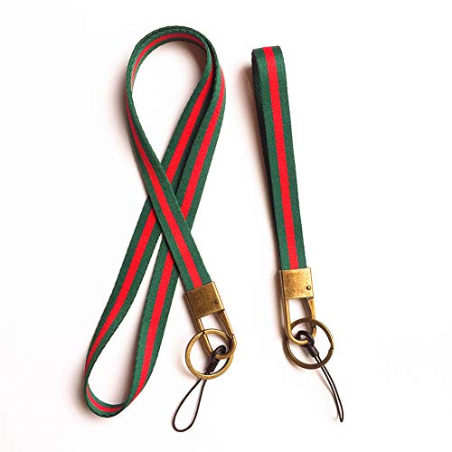 Soft Woven Stripe Neck Lanyard and Hand Wrist Strap for Cell Phone,Camera,KeyChain,ID Name Tag Badge Etc Device, With Bronze Hook and Key Ring.1 Set contains 1 Neck Strap and 1 Wrist Strap (Green/red)
