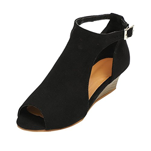 Womens Wedges Dress Sandals Fis-Head Ankle Strap Peep Toe Platform Summer Shoes (Black, US:7)