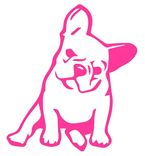 French Bulldog Lover Vinyl Sticker Decals for Car Window Laptop Phone (4' x 3.5', Hot Pink)