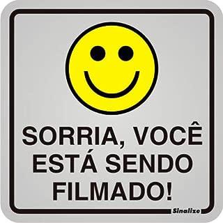 """Placa Sinalizadora Auto-Adesiva""""Sorria, Você Está Sendo Filmado"""" 12x12cm Sinalize 90019"""