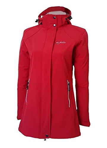 Dry Fashion Damen Softshell Mantel Sylt tailliert Regenmantel Regenjacke, Farbe:rot, Größe:48