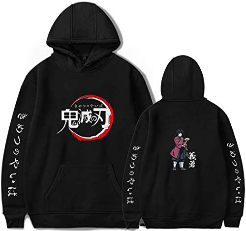 PANOZON Sudadera Hombre Demon Slayer Impresión de Espada Mata-Demonios Hoodie de Anime con Capucha (L, A-Negro 67-1)
