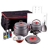Kit de utensilios de cocina para acampar, juego de cocina para exteriores con hervidor, olla y sartén liviana para acampar, mini estufa, para 2 a 3 personas para acampar al aire libre, senderismo, pic