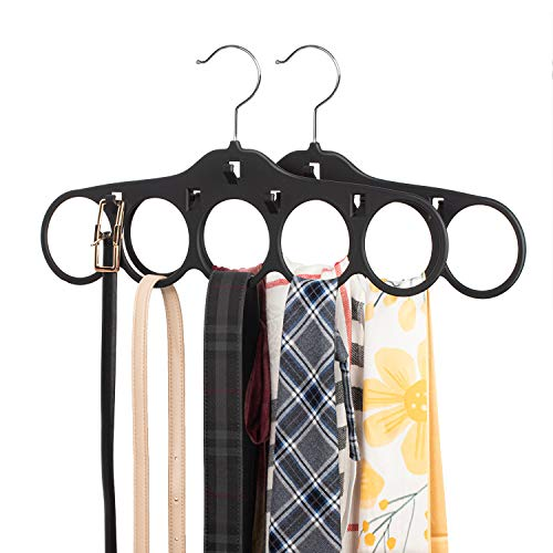 SMARTAKE 2 Pack Scarf Hangers 5 Loops Tie Rack Belt Holder with Hooks 360 Degree Rotating Accessories Holder Non-Slip Durable Hanging Closet Organizer for Belt Silk Scarves Accessories Black