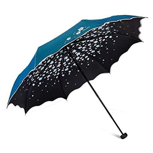 LXFDS UV-Schutz Sonnenschutz Regenschirm Flash Tuch Regenschirm stärkend Vinyl Nachtschirm Tragbarer Sonnenschirm UV-Schutz Damen Sonnenschirm Schwarz Bluelake Größe