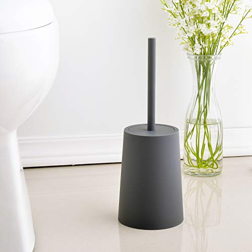 O-KIS Toilet Brush and Holder Modern Simple Elegant Practical Toilet Brush for Bathroom Toilet Storage - Charcoal Grey