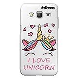 dakanna Funda para [Samsung Galaxy Core Prime] de Silicona Flexible, Dibujo Diseño [Unicornio con Corazones y Frase, I Love Unicorn], Color [Fondo Transparente] Carcasa Case Cover de Gel TPU