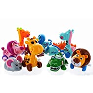 """GIFTEXPRESS 12 Pieces 3"""" - 4"""" Assorted Zoo Animal Wind Up Toys for Kids Party Favors - Perfect Playing Size for age 3 – 10"""