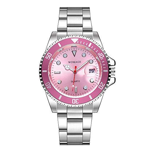 Reloj de Pulsera de Acero para Hombres de Europa y América Reloj Deportivo de Alta Gama Resistente al Agua Reloj de Gran Calendario de Cuarzo Reloj para Hombre-Rosa