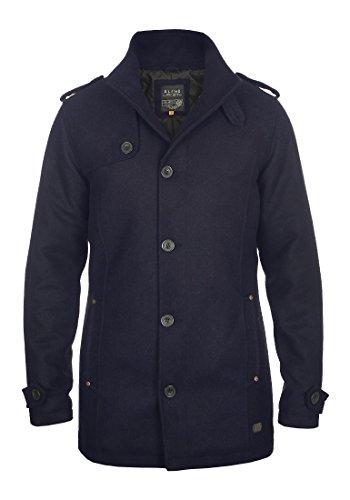 Blend Warren Herren Winter Mantel Wollmantel Lange Winterjacke mit Stehkragen, Größe:M, Farbe:Navy (70230)