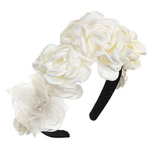 JINGMO Femmes Bohème Fleur Couronne Mode Bandeaux Perles Soie Floral Guirlande Tête Bandes Cheveux Accessoires