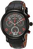 MATTHEY-TISSOT Correa de cuero de cuarzo de acero inoxidable para hombre, negro, 20 reloj casual (Modelo: H7030RSO)