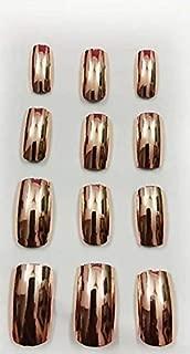 TC MIRROR SHINE Rose Gold Nail 12 PCS With Professional Nail Glue