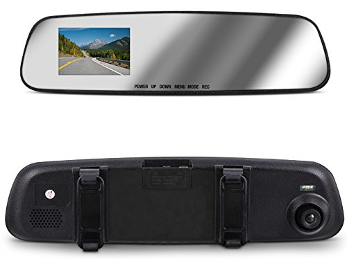 Aduro MirrorCam Rear View Mirror with Front Video Camcorder for Safety in HD, 2.6 in LCD Display, Wide Angle Lens, Seamless Video/Picture/Voice Recording, Multiple Languages