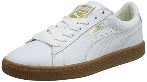 Puma Basket Classic Gum Deluxe, Zapatillas Unisex Adults'o, Blanco White-Metallic Gold, 39 EU