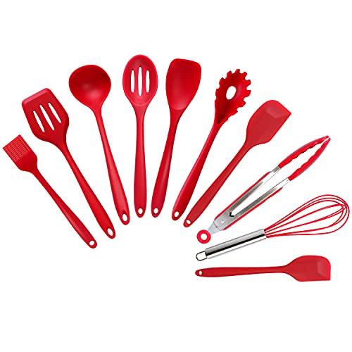 Silicone Kitchen Utensils Set,DiWoJin Seamless 10 Pcs series Red Kitchen Untensils Set heat Resistant BPA Free, Silicon Spatula Kitchen Utensils