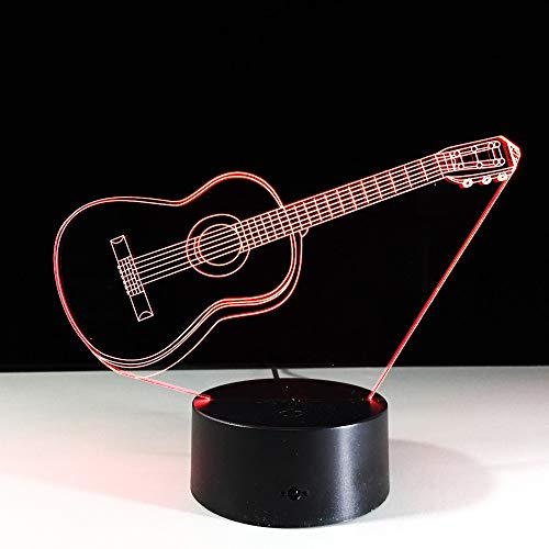 Jiushixw 3D acryl nachtlampje met afstandsbediening van kleur veranderende lamp creatieve gitaar vorm kinderen verlicht slaapkamer kantoor bamboe lichttafel
