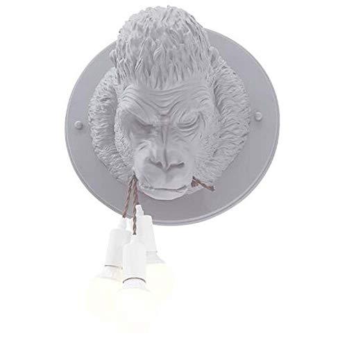 ZXF Wandleuchte Wohnzimmer Schlafzimmer Den Restaurant Kaffeekanne Shop Bekleidung Barber Zoo Gorilla Biss Line Wall Lamp W40XH60 Warm (Farbe : Gray)