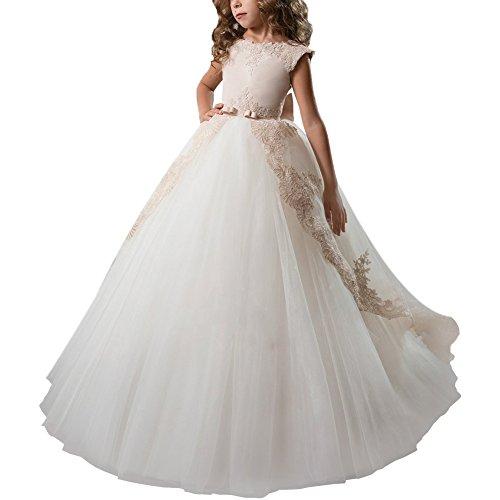 IBTOM CASTLE Vestido de niña de Flores para la Boda Niñas Niños Largo Gala Encaje De Ceremonia Fiesta Elegantes Comunión Paseo Baile Pageant #9 Beige + Blanco 12-13 años