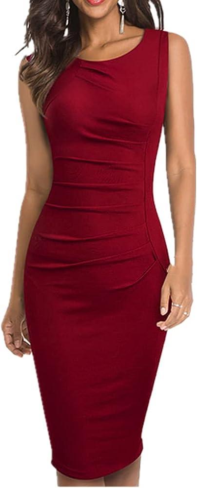 Nice-Forever Color Elegant Dresses Formal Party Bodycon Sheath Women Dress