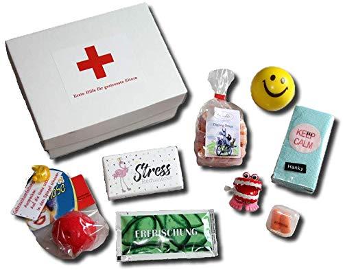 Erste Hilfe gestresste Eltern | Anti-Stress Geschenk Box Eltern | lustiges Geschenk Eltern Geburt Baby | witzige Geschenke Ideen Eltern Geburt | Eltern Geschenkbox Geburt