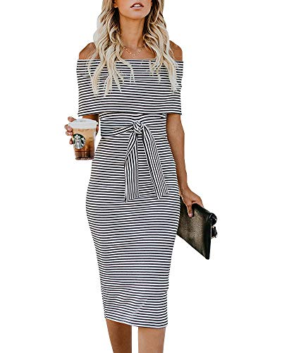 Nulibenna Womens Off The Shoulder Bodycon Dress Striped Fold Cocktail Dresses with Belt