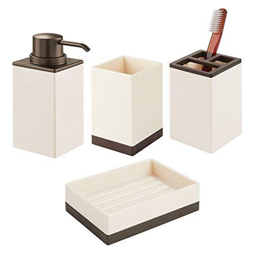 mDesign Juego de 4 accesorios para el baño – Porta cepillos de dientes, dosificador de jabón, jabonera de baño y vaso de diseño elegante – Fabricados en plástico resistente – color crema/bronce
