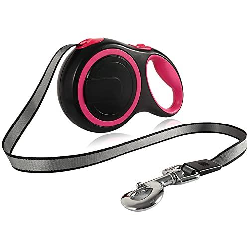 WSYGHP Correa de 8 m para perros y mascotas, correa retráctil automática, extensible al aire libre, caminata para perros pequeños, medianos y pequeños, correas para perros (color: rosa)