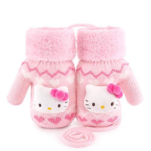 Greneric Süße Kätzchen Mädchen Handschuhe Winter warm Plüsch Kind Kleinkind Prinzessin süße Mädchen Baby Wolle Stricken PasteStickerei17014mittleresPulver