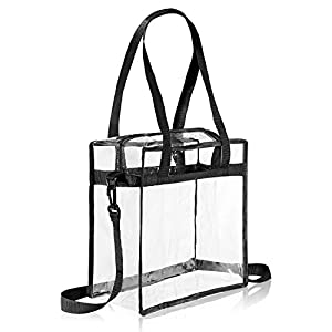 Eono by Amazon – Bolso de Mano Transparente Aprobado para Estadios, Estuches de Maquillaje Bolsa de Hombro Transparente…