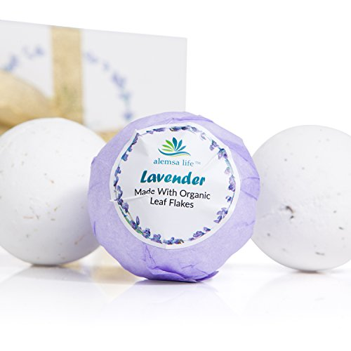 Lavender Bath Bombs Gift Set For Women, Mom, Girls, Teens, Her, 6 Large Lush Natural Organic Fizzies With Essential Oils Helps Moisturize Dry Skin, Relaxing Bubble Spa Bath Birthday Gift Idea For Her.