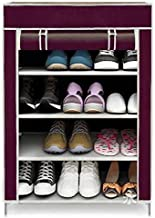 ELECTROPRIME Multi Purpose Collapsible Shoe Rack Stand with 4 SHELVE (Maroon)