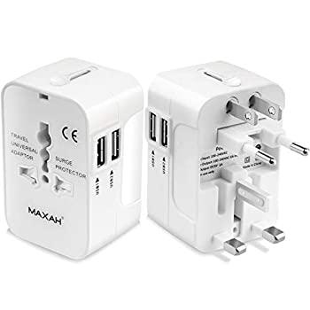 MAXAH 2 USB Charging Port  1A  Surge Protector All in One Universal Worldwide Travel Wall Charger AC Power AU UK US EU Plug Adapter Adaptor  2 USB  1A   Upgraded