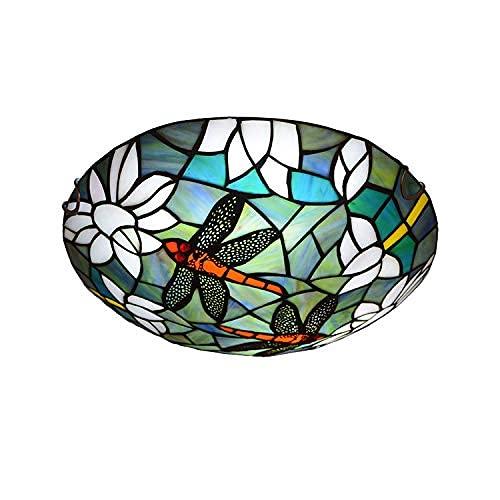 Luz de Techo Estilo Tiffany lámpara de Techo empotrada lámpara de Pantalla de Cristal libélula iluminación de Techo a Media Altura con luz E27,16 Pulgadas (40 cm)