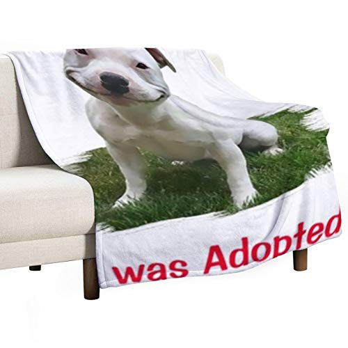 Smiling Pitbull Adopted 3D Printed Blanket Anime Flannels Blanket Fit Couch Sofa Baby Blankets for Kids Adults Indoor Bedroom House Bedding Warming 80 x 60 inches