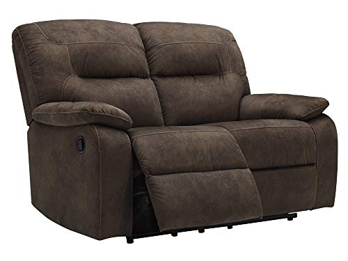 Signature Design by Ashley - Bolzano Casual Faux Leather Reclining Loveseat - Pull Tab Reclining - Dark Brown