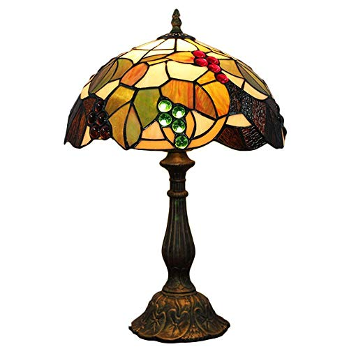 LHQ-HQ Tiffany Lámpara de Mesa en Color UVA de Mesa de Cristal de la lámpara lámpara Cama lámpara de Mesa cabecera de la habitación de la Sala Cubierta (12'Ancho 19' Altura) Tiffany lámparas de Mesa