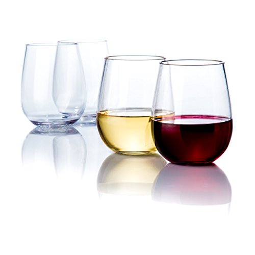 Savona Elegant Stemless Plastic Wine Glasses Unbreakable Wine Glasses | Ideal for Indoor/Outdoor Use...
