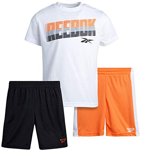 Reebok Baby Boys' Shorts Set – 3 Piece Short Sleeve T-Shirt and Shorts Playwear Set (Infant/Toddler), Size 18 Months, White/Grey/Orange
