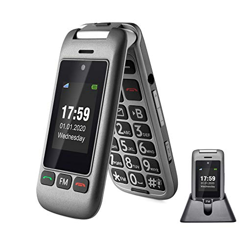 artfone 3G Unlocked Senior Flip Cell Phone,Senior Phone with Charging Cradle and Large Screen for Elderly(Compatibility Nationwide on AT&T or Any Other Carrier That use AT&T Network)
