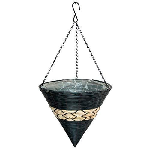 Gardener Select RA809 Cone Hanging Basket, Dark Brown with Tan Band