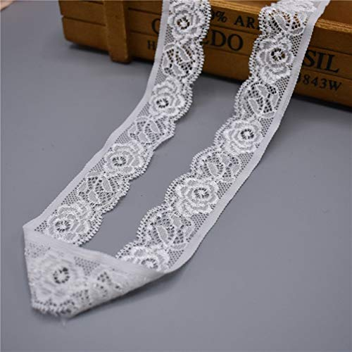 10 Yards Stretches Elastic Lace Fabric Ribbon Trim for Sewing Lingerie,Nightgowns,Bra,Underwear,Sleepwear-Flower Lace Ribbon 1 Inch for Sewing-Lace Fabric for Sewing-Elastic Lace Trim for Dresses DIY