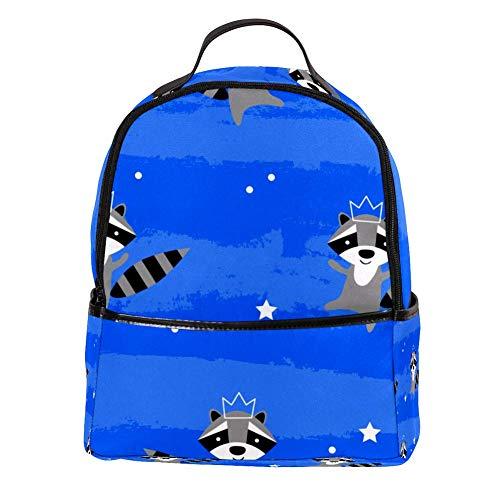 TIZORAX Laptop-Rucksack, Tanzender Racoon mit Krone, lässiger Schultertasche, Tagesrucksack für Studenten, Schultasche, Handtasche – leicht